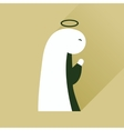Flat icon with long shadow Virgin Mary vector image