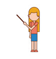 cartoon teacher with pointer standing vector image