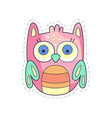 cute owlet colorful cloth patch applique for vector image
