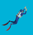 deep sea diver with equipment on vector image