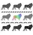 Male lion silhouette mosaic set vector image