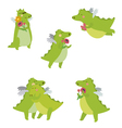 Romantic with dinosaur Cartoon set vector image