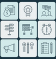 set of 9 project management icons includes time vector image