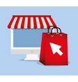 shopping online e-commerce bag gift computer vector image
