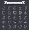 wedding line icons vector image