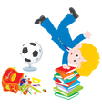 Schoolboy after lessons vector image vector image