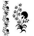 silhouette flower black pattern vector image vector image
