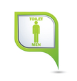 Map pointer with restroom icon man vector image vector image
