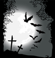 Flying bats Halloween horizontal banner vector image