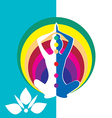 Woman silhouette in sitting lotus position vector image