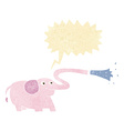 cartoon elephant squirting water with speech vector image