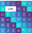 Line Art Law and Justice Icons Set vector image