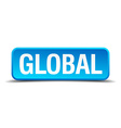 Global blue 3d realistic square isolated button vector image
