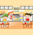 kitchen scene with girls and boys vector image