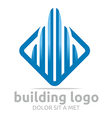 Logo Icon Tall Bulding Blue Design Symbol Abstract vector image