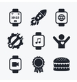 Smart watch icons Wrist digital time clock vector image
