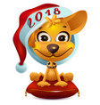 yellow dog in santa hat symbol 2018 vector image