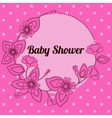 Baby shower with round floral banner pink vector image vector image