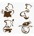 cooking symbols and professionals emblems vector image