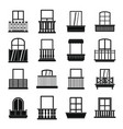window forms icons set balcony simple style vector image