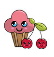 kawaii cherry cup cake icon with beautiful vector image
