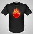 t shirts Black Fire Print man 09 vector image vector image