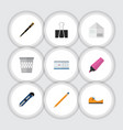 Flat icon tool set of drawing tool knife letter vector image