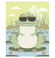 Xenopus with sunglasses in a pond vector image