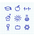 school doodle icons  blue vector image vector image