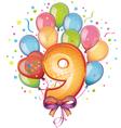 9 happy birthday vector image