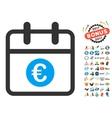 Euro Day Flat Icon with 2017 Year Bonus vector image