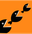 fish monster eating each other three fishes food vector image