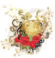 Grunge gold disco ball vector image