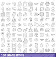 100 loans icons set outline style vector image
