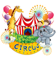A circus show with kids and animals vector image vector image