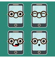 Cartoon Mobile Phone with Eyeglasses vector image