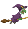 Sinister witch was riding broomstick vector image