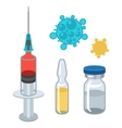 Syringe and vaccine set of medical tools for vector image vector image