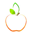 polygonal contour apple with green leavesv vector image