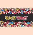 black friday banner design with present and gift vector image