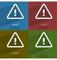 Color set danger exclamation mark Flat modern web vector image