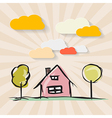 Hand Drawn House with Trees and Paper Clouds on vector image