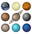 solar system planets and moon set vector image