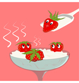 Strawberry with cream vector image