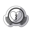 monochrome sticker of heart with health symbol vector image