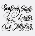 seafood and lobster hand written typography vector image