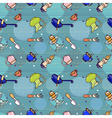 kitchen seamless pattern with ware objects vector image