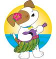 cute puppy hawaii vector image vector image