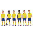 flat school football soccer young guys team vector image