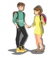 young couple students vector image